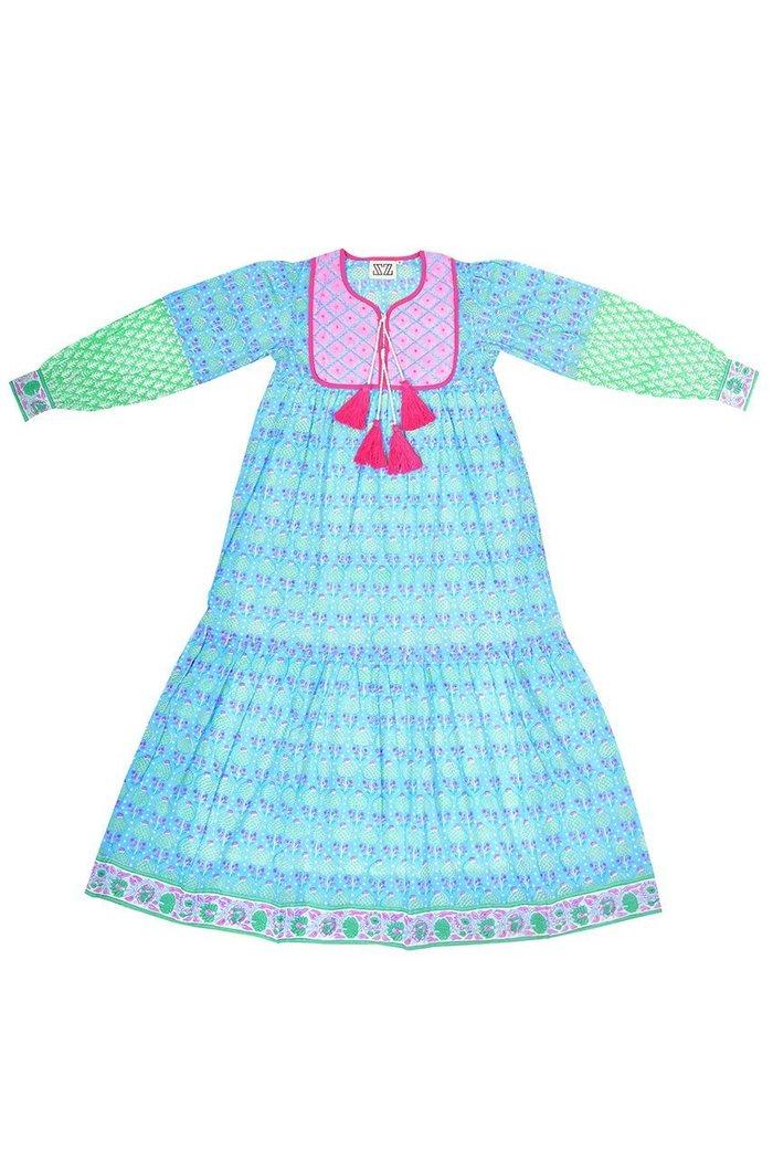【エスゼット ブロックプリント/SZ Blockprints】のJODHPUR DRESS PINEAPPLE プリントコットンワンピース インテリア・キッズ・メンズ・レディースファッション・服の通販 founy(ファニー) https://founy.com/ ファッション Fashion レディースファッション WOMEN ワンピース Dress ドレス Party Dresses インド キルティング タッセル ハンド ブロック プリント ロング |ID: prp329100001634204 ipo3291000000008199604