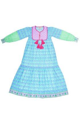 【エスゼット ブロックプリント/SZ Blockprints】のJODHPUR DRESS PINEAPPLE プリントコットンワンピース 人気、トレンドファッション・服の通販 founy(ファニー) ファッション Fashion レディースファッション WOMEN ワンピース Dress ドレス Party Dresses インド キルティング タッセル ハンド ブロック プリント ロング |ID:prp329100001634204
