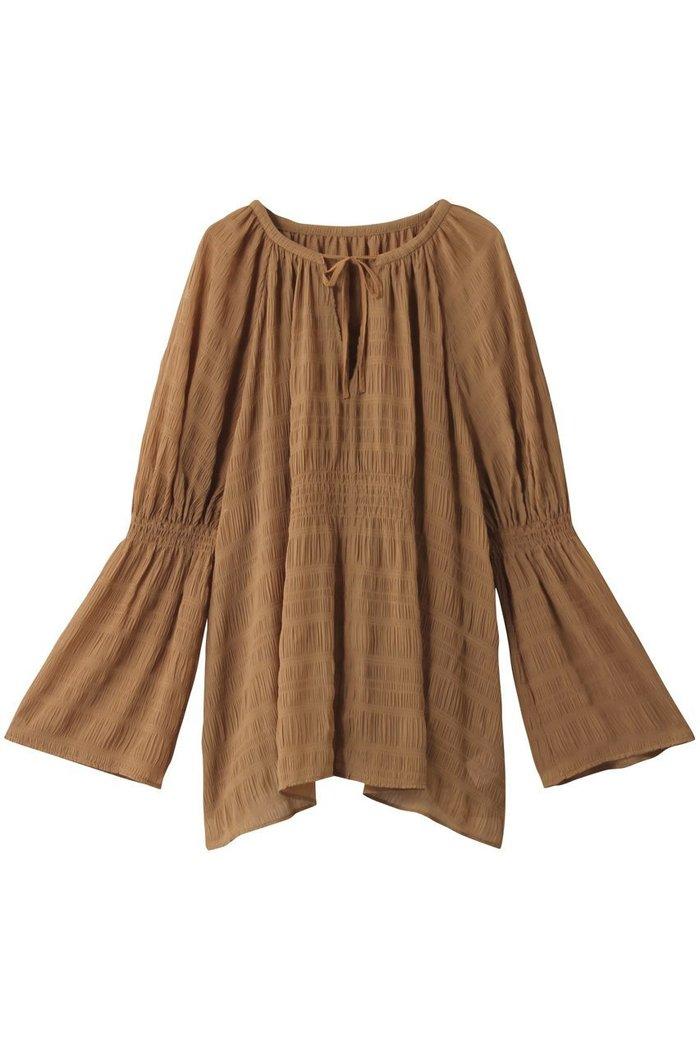 【ランバン オン ブルー/LANVIN en Bleu】のシャーリングシフォンオーバーブラウス インテリア・キッズ・メンズ・レディースファッション・服の通販 founy(ファニー) https://founy.com/ ファッション Fashion レディースファッション WOMEN トップス・カットソー Tops/Tshirt シャツ/ブラウス Shirts/Blouses シャーリング スリーブ ランダム リボン ロング  ID: prp329100001883276 ipo3291000000010908140