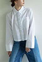 【ガリャルダガランテ/GALLARDAGALANTE】の【BAUM UND PFERDGARTEN】フロントフリルブラウス 人気、トレンドファッション・服の通販 founy(ファニー) ファッション Fashion レディースファッション WOMEN トップス・カットソー Tops/Tshirt シャツ/ブラウス Shirts/Blouses 2020年 2020 2020-2021秋冬・A/W AW・Autumn/Winter・FW・Fall-Winter/2020-2021 2021年 2021 2021-2022秋冬・A/W AW・Autumn/Winter・FW・Fall-Winter・2021-2022 A/W・秋冬 AW・Autumn/Winter・FW・Fall-Winter ガーデン ショート シンプル ストライプ スリーブ フリル フロント ボトム |ID:prp329100001887158