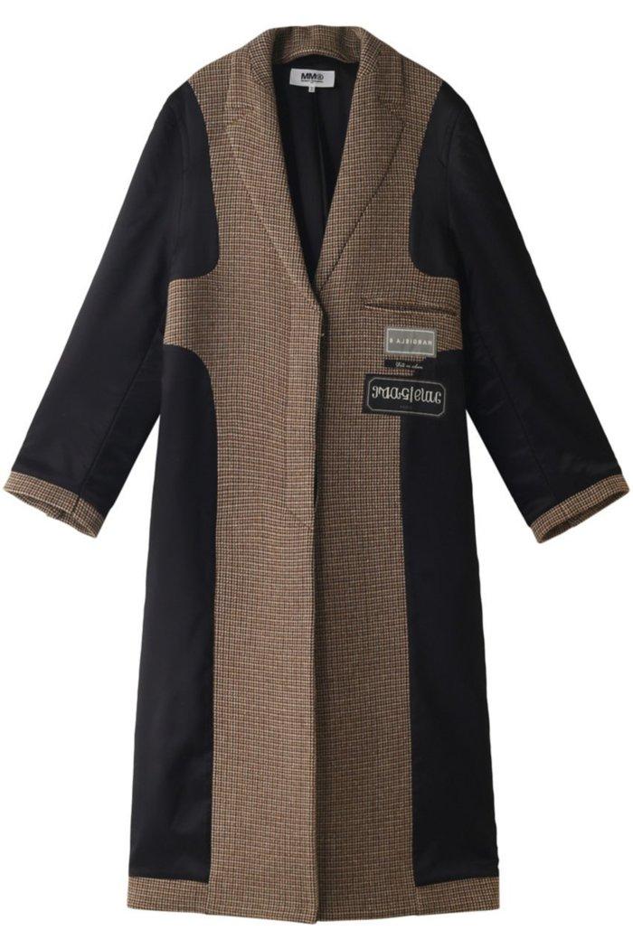 【エムエム6 メゾン マルタン マルジェラ/MM6 Maison Martin Margiela】の異素材コンビチェックコート インテリア・キッズ・メンズ・レディースファッション・服の通販 founy(ファニー) https://founy.com/ ファッション Fashion レディースファッション WOMEN アウター Coat Outerwear コート Coats おすすめ Recommend コンビ チェック ロング |ID: prp329100001906530 ipo3291000000011018567