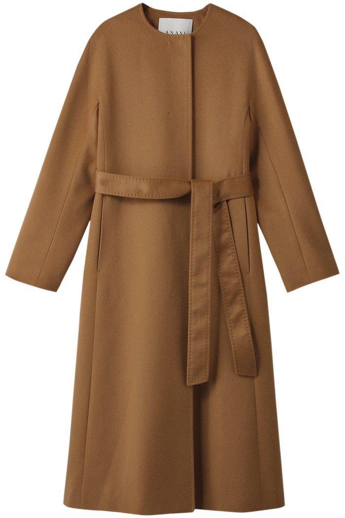 【アナイ/ANAYI】のカシミヤクルーコート インテリア・キッズ・メンズ・レディースファッション・服の通販 founy(ファニー) https://founy.com/ ファッション Fashion レディースファッション WOMEN アウター Coat Outerwear コート Coats カシミヤ シンプル リボン ロング 定番 Standard  ID: prp329100002074083 ipo3291000000012748310