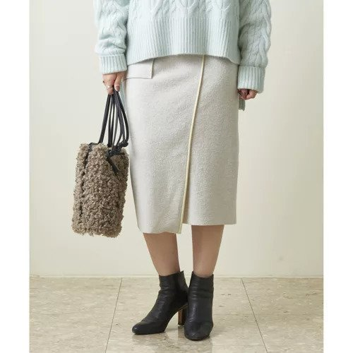 【ガリャルダガランテ/GALLARDAGALANTE】のブークレーパイピングスカート インテリア・キッズ・メンズ・レディースファッション・服の通販 founy(ファニー) ファッション Fashion レディースファッション WOMEN スカート Skirt シンプル デニム フェイクレザー オフホワイト|ID: prp329100000491677 ipo3291000000001511528
