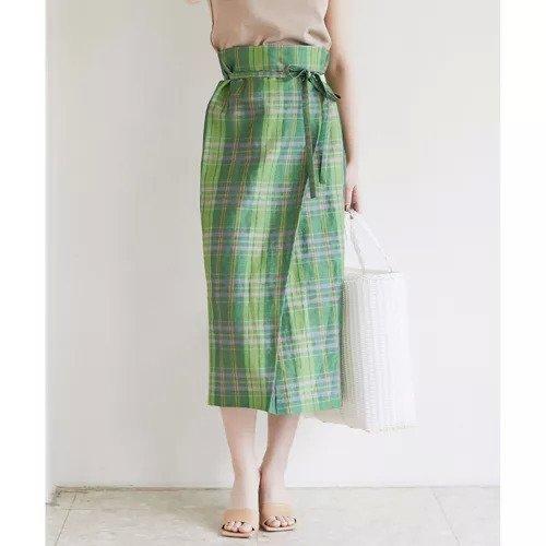 【ガリャルダガランテ/GALLARDAGALANTE】のチェックラップスカート インテリア・キッズ・メンズ・レディースファッション・服の通販 founy(ファニー)  ファッション Fashion レディースファッション WOMEN スカート Skirt おすすめ Recommend イタリア セットアップ タイトスカート チェック ラップ リネン グリーン ID: prp329100000508997 ipo3291000000001575217