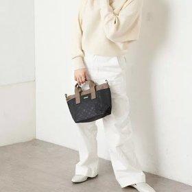【デイリー ラシット/Daily russet】の裏張りナイロン 型押しバイカラートートバッグ(S) 人気、トレンドファッション・服の通販 founy(ファニー) ファッション Fashion レディースファッション WOMEN バッグ Bag コンパクト ハンドバッグ ポケット 軽量  ID:prp329100001354368